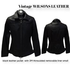 Vintage WILSONS LEATHER 3M black zip jacket S